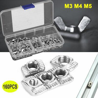 160pcs T Sliding T Nut Head Fasten Zinc Plated M3 M4 M5 for 2020 Aluminum Slots