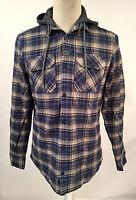 Globe Men's Hooded Flannel Shirt Alford Navy/green Plaid Size L Light Jacket