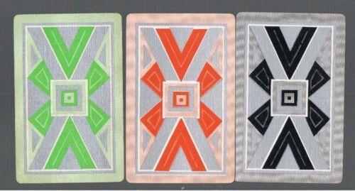 Swap Playing Cards 3 VINT DECO  DESIGN//PATTERN ORANGE GREEN  BLACK ON SILVER 497