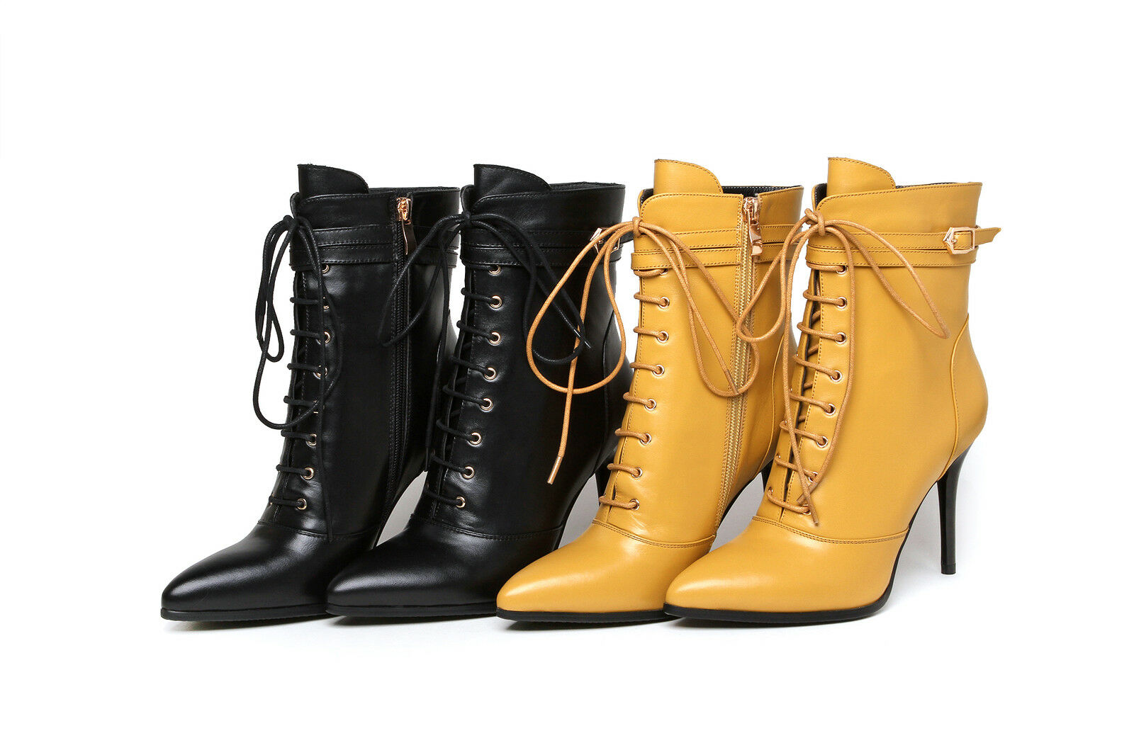 Ladies Leather shoes High Heels Party Pumps Zip Lace Up Ankle Boots US Size b344