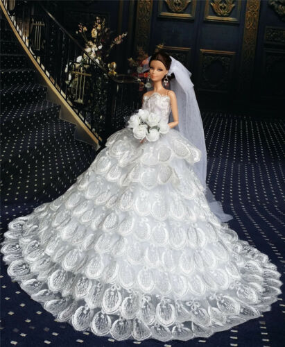 White Fashion Royalty Dress//Wedding Clothes//Gown+Veil for 11.5in.Doll ES216