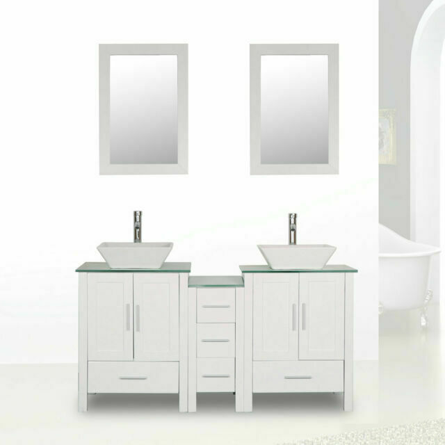Homecart Bathroom Vanity Cabinet Glass Top Double Basin With Faucet Drain 60in White For Sale Online Ebay