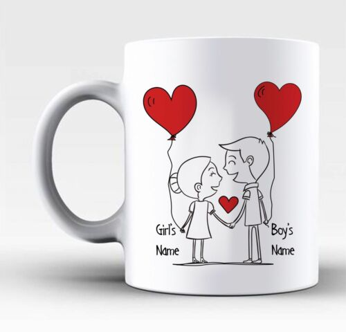 Personalised Valentines Day Gift Mug For Him /& Her With Any Names On