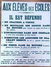 REPRODUCTION AFFICHE 1900 : AUX ÉLÉVES DES ÉCOLES  IL EST DÉFENDU