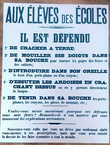 REPRODUCTION-AFFICHE-1900-AUX-ELEVES-DES-ECOLES-IL-EST-DEFENDU