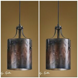 Image Is Loading TWO 16 034 COPPER FINISH HANGING PENDANT LIGHTS
