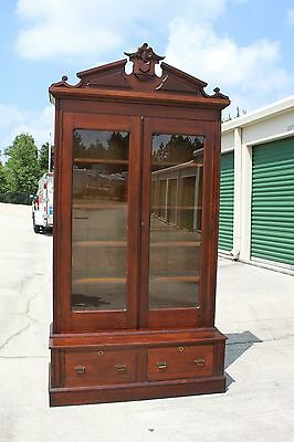 Outstanding Large Walnut Victorian Stepback Tall Bookcase Cabinet w Carved Crown