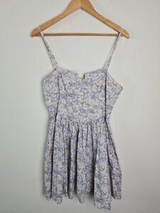 Portmans-Blue-Floral-Sun-A-Line-Fit-amp-Flare-Dress-Women-039-s-Size-12-Cut-Out-Back