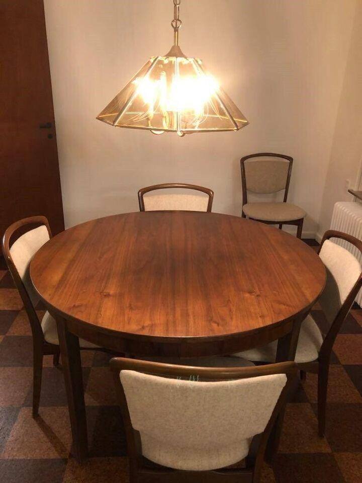 Rundt klassisk spisebord, udtræk og 6 pæne stole