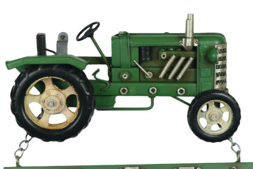 34CM GREEN VINTAGE TRACTOR WALL HANGING CALENDAR TIN PLATE METAL DECORATIVE