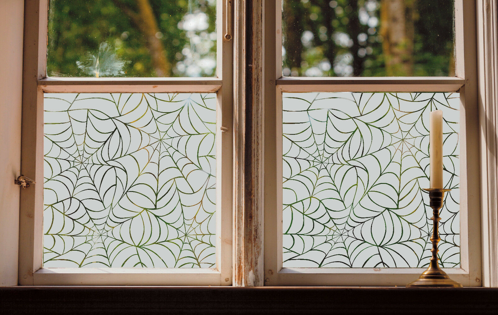 Ge tztes glas fenster folie matt spinnennetz gesch ft heim badezimmer contempory ebay - Badezimmer fenster glas ...