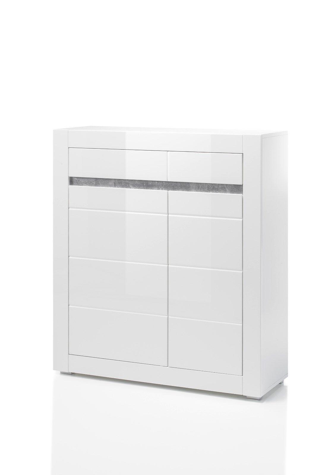Kommode Sideboard Stauraumelement Carat 42 42 42 Weiß Hochglanz Beton 37fe1e