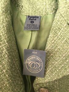 Girl-039-s-Jacket-Pumpkin-Patch-Vintage-Willow-Green-Long-Tweed-Winter-Coat-size-6