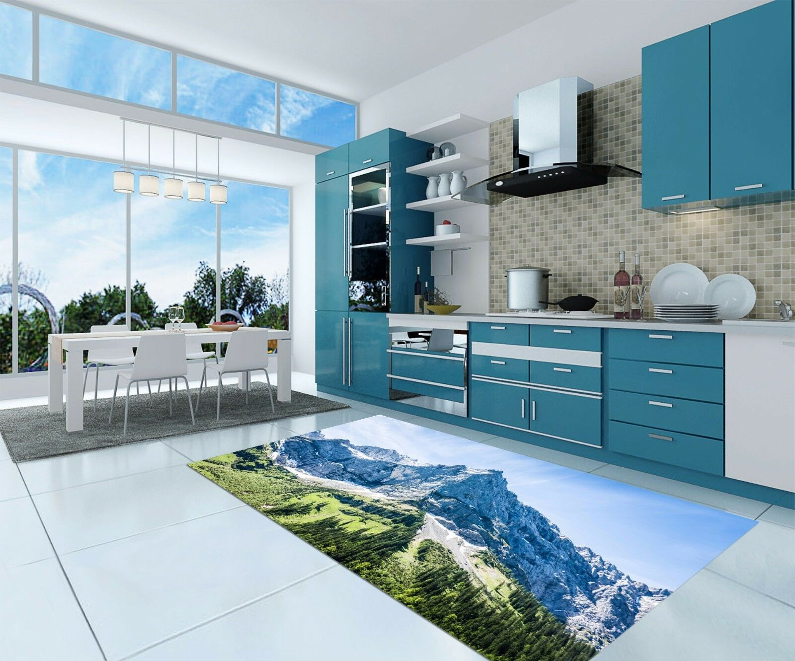 3D Sky Mountain 94 Kitchen Mat Floor Murals Wall Print Wall AJ WALLPAPER UK Kyra