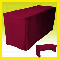 8 Fitted Tablecloth Table Cover Trade Show Open Back 3 Sided Burgundy Red
