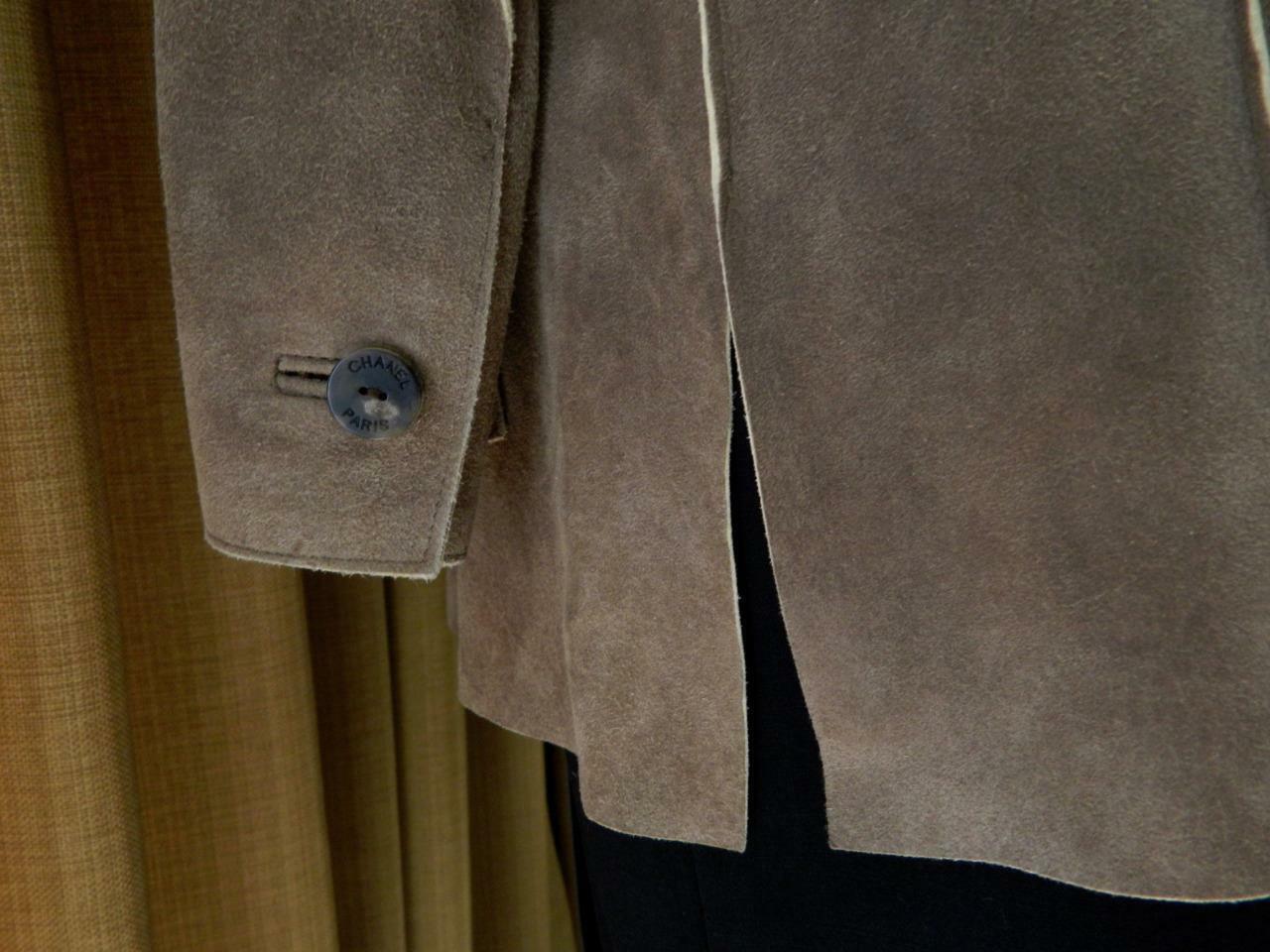 CHANEL Jacket Deer Skin Suede Chanel Horn Button … - image 7