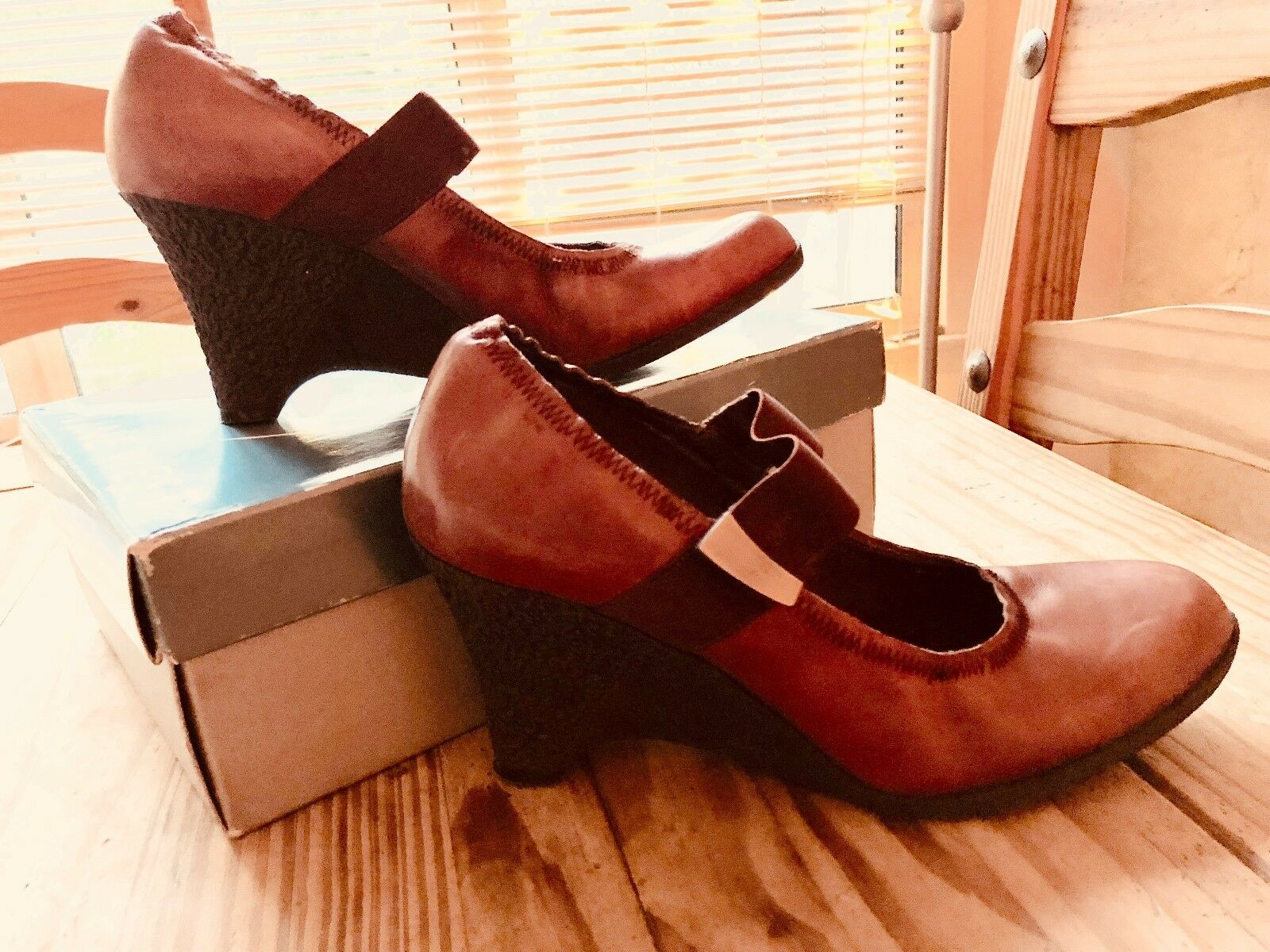 NINE WEST Schuhe • Alexandrin • Leder • Tan • Elastic • Wedge • Damenschuhe Größe 7.5