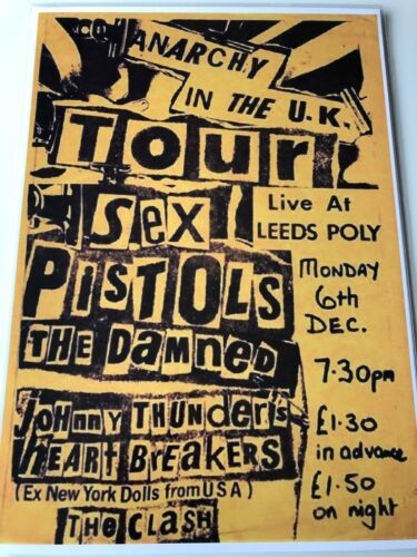 Sex Pistols The Damned Tour Advertisement retro vintage repro metal sign