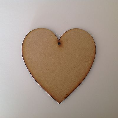 5 x Wooden Mdf hearts 15CM 2 holes 4mm