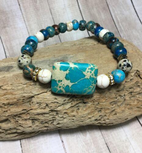 Handmade Healing Jasper Howlite Stone Stretch Bracelet USA