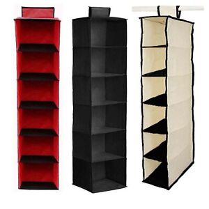6-Shelve-Wardrobe-Hanging-Storage-Organiser-Foldable-Shoe-Clothes-Tidy-Fabric