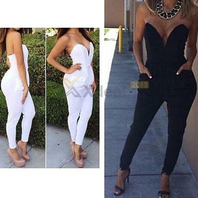 NEW Womens Ladies V Neck Sleeveless Bodycon Jumpsuit Romper Trousers Clubwear
