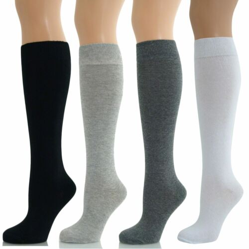 1,2,3,6 pair LADIES GIRLES long Knee High  PLAIN COTTON  SOCKS 4//7