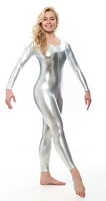 Gold Shiny Metallic Dance Fancy Dress Long Sleeve Catsuit Unitard KDC017 By Katz
