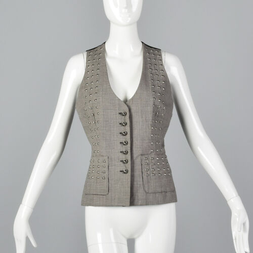 S 1990s Todd Oldham Seven 7 Studded Wool Vest Sepa