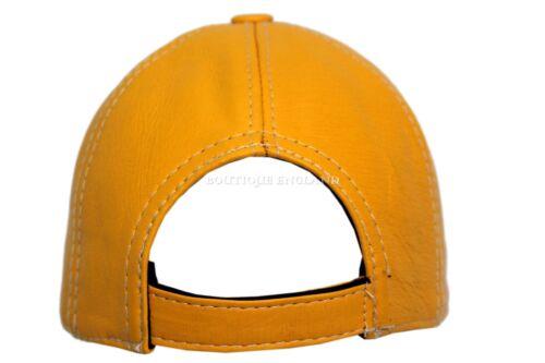 BASEBALL Dark Yellow Men Ladies Real Soft Nappa Leather Hip-Hop Cap Hat