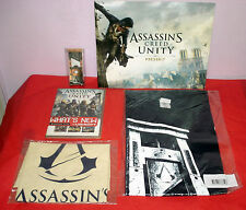 Assassins Creed Unity Press Kit, Disc, Gamescom Guillotine Opener, T-Shirt & Bag