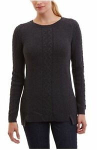 NEW-Nautica-Women-039-s-Crew-Neck-Cable-Knit-Sweater-Navy-Size-XS