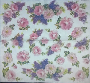 Rice Paper Napkin for Decoupage Vintage Flowers Pink Rose 50x50 cm ...