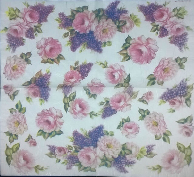 rice paper napkin for decoupage vintage flowers pink rose 50x50 cm dft154