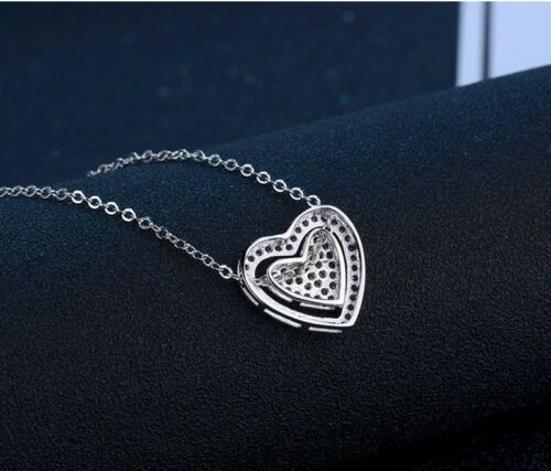 """Two-Tone Silver Micro Pave Crystal Double Heart Pendant Necklace 18/"""" Gift Box S3"""