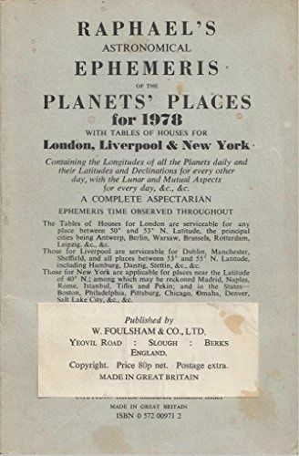 1 of 1 - Foulsham-Raphael`S Astronomical Ephemeris Of The Planets` Places: 1978  BOOK NEW