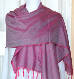 Banaras-Silk-Dark-Pink-Color-Woven-Paisley-Floral-Design-Stole-Wrap-Shawl
