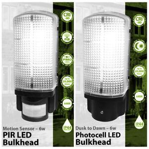 PIR Sensor or Dusk Till Dawn Photocell Bulkhead Outdoor ...