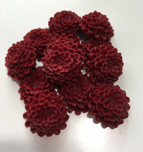 12 Edible Dark Red//Burgundy Chrysanthemums Wedding Flower Cake Decoration Topper