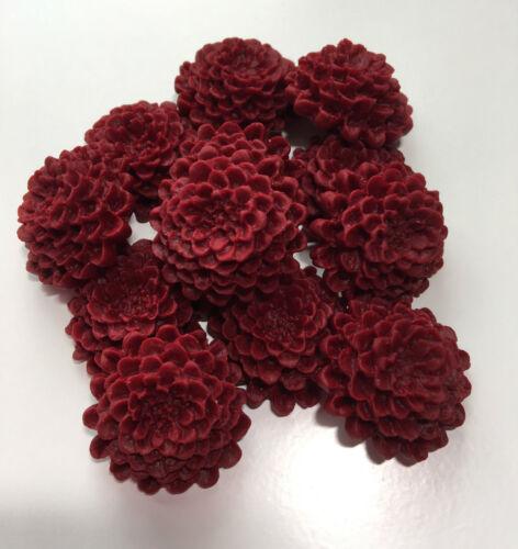 12 Edible Dark Red//Burgundy Chrysanthemums Wedding Flower Cake Decoration Topper