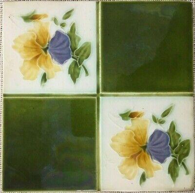 Antique england rare art vintage nouveau border collectible tile majolica c1900