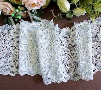 14.5 cm width Off White/ Pale Blue Stretch Lace Trim