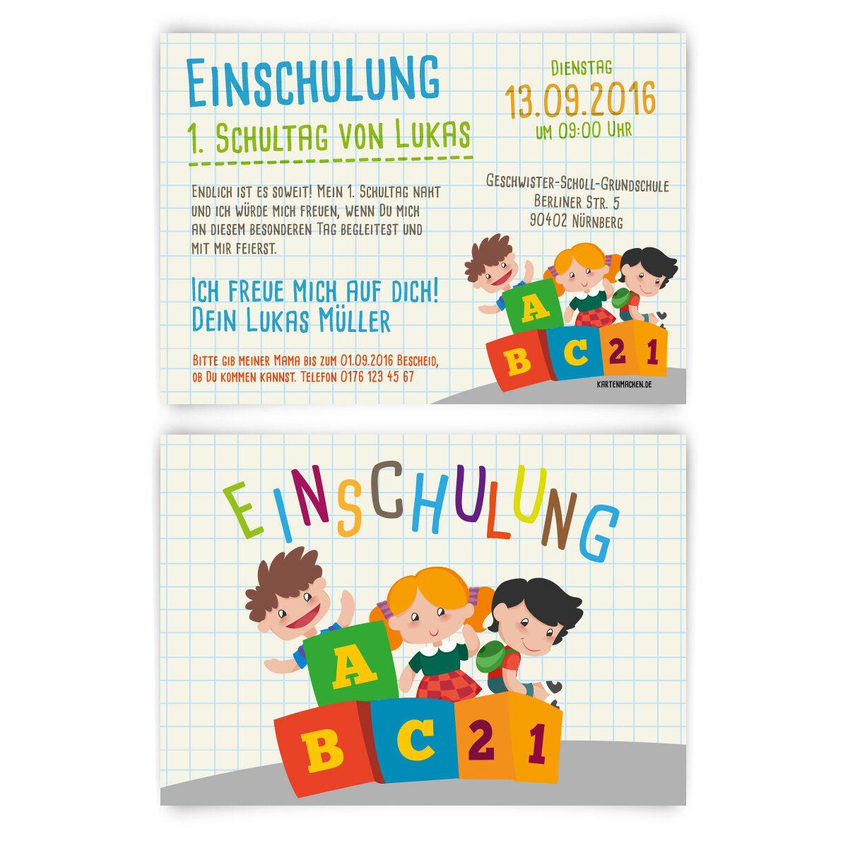 Einladungskarten zur Einschulung - ABC Kinder Bauklötze Schule Motiv Einladung   | Billiger als der Preis  | Offizielle Webseite