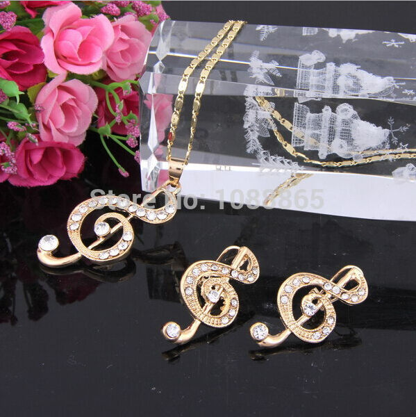 18K Gold Plated White Gold Crystal Musical Note Necklaces Earrings Set
