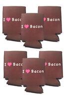 I Love Bacon Koozie - 6 Pack - Foam Koozies Beer Can Cooler Soda Insulator