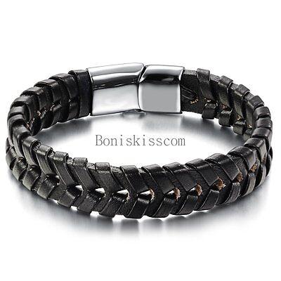 """Men's Stainless Steel 8.2"""" Black Braided Leather Magnetic Bracelet New + BAG"""