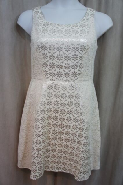 Jessica Simpson Dress Sz 12 Champagne Gold Metallic Lace Fit & Flare Cocktail