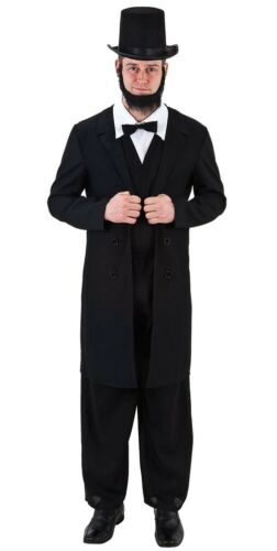 Mens Abraham Lincoln USA President 4th July Carnival Fancy Dress Costume Outfit