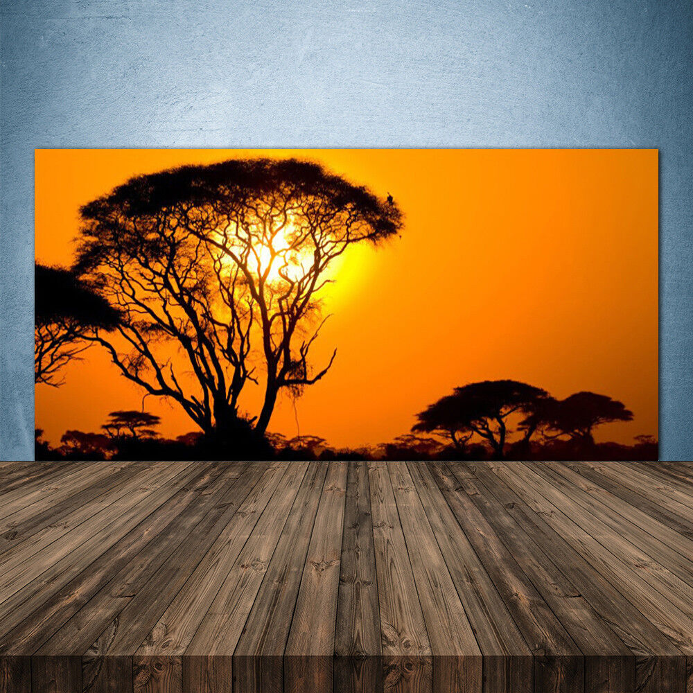Vidrio Templado Cocina salpicaduras 140x70 árboles Sol Naturaleza