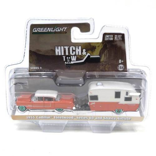 GREENLIGHT 1/64 1955 CADILLAC FLEETWOOD & SHASTA AIRFLYTE CHASE GREEN MACHINE